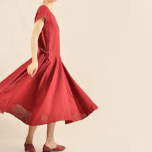 Load image into Gallery viewer, Burgundy sundress vintage fit flare maxi dress
