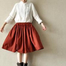 Load image into Gallery viewer, Burgundy top quality cotton skirts elastic waist casual pleated skirts