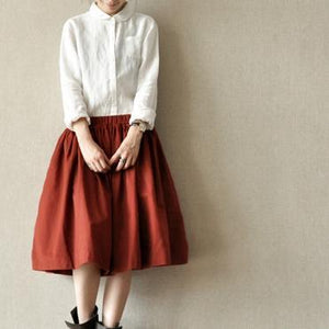 Burgundy top quality cotton skirts elastic waist casual pleated skirts