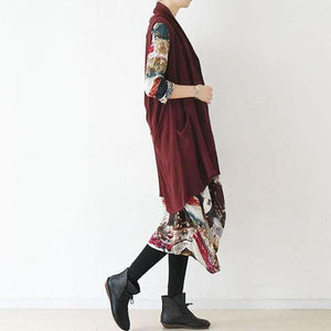 Burgundy unique linen vest tops woman blouse asymmetric back design