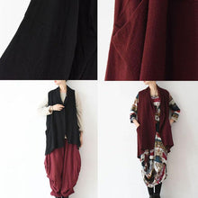 Load image into Gallery viewer, Burgundy unique linen vest tops woman blouse asymmetric back design