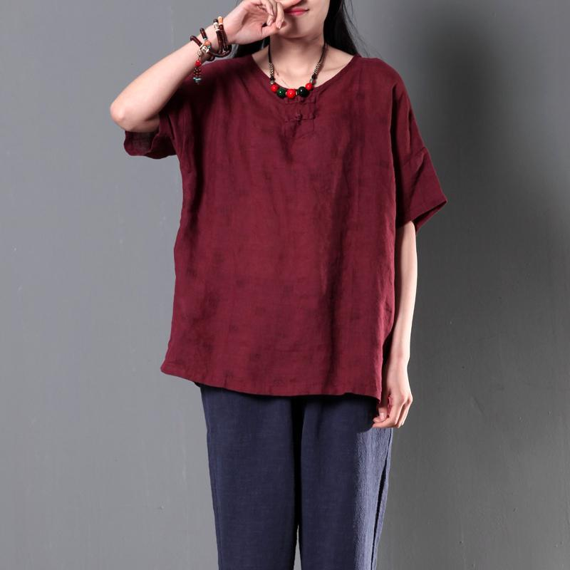 Burgundy women linen shirt cusual summer loose blouse short top