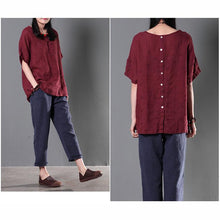 Laden Sie das Bild in den Galerie-Viewer, Burgundy women linen shirt cusual summer loose blouse short top