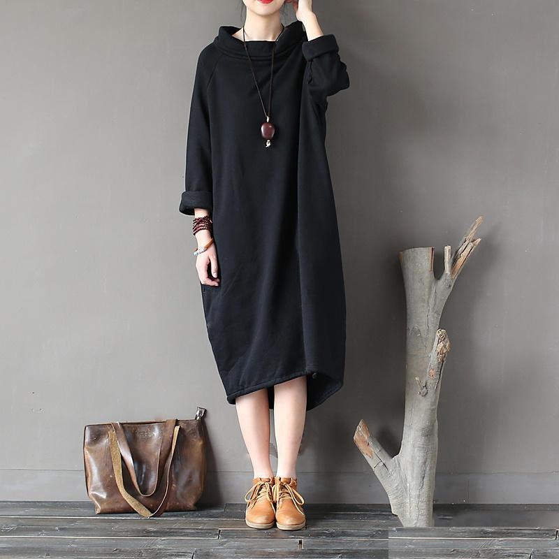Buy cotton clothes For Women Omychic patchwork Neckline black high neck cotton Dresses