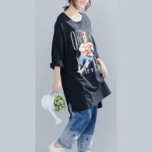 Load image into Gallery viewer, Buy cotton linen tops women plus size o neck print Neckline black silhouette shirts