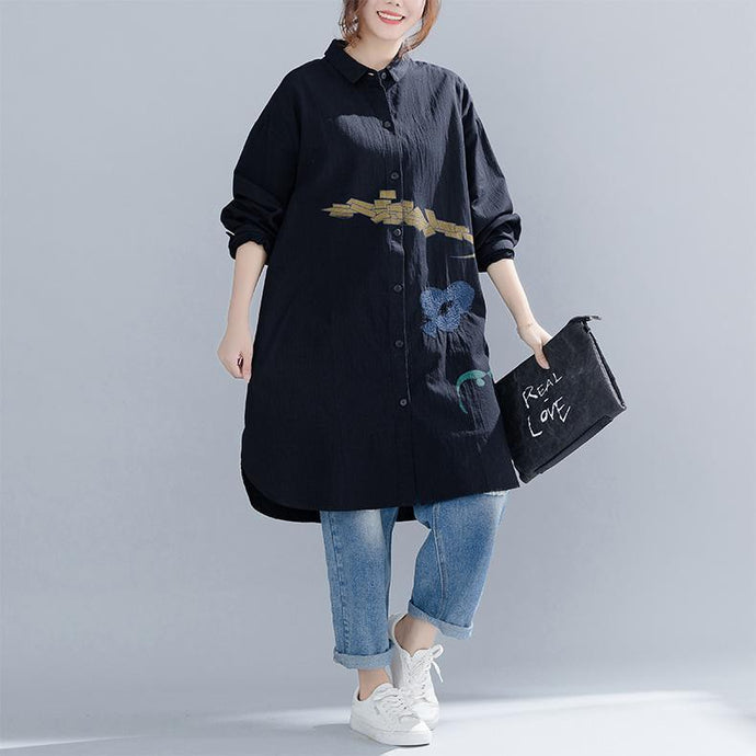 Buy cotton tunics for women Indian embroidery Turn-down Collar Sleeve black Midi blouses spring