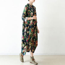 Load image into Gallery viewer, Buy green print linen clothes For Women Women Sewing loose o neck asymmetric Dresses