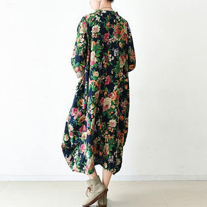 Buy green print linen clothes For Women Women Sewing loose o neck asymmetric Dresses