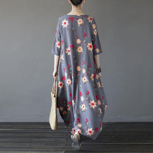 Buy linen Robes Korea o neck pockets Neckline gray floral asymmetric Maxi Dresses