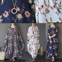 Load image into Gallery viewer, Buy linen Robes Korea o neck pockets Neckline gray floral asymmetric Maxi Dresses
