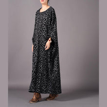 Load image into Gallery viewer, Buy quilting dresses 2019 o neck Batwing Sleeve Online Shopping black floral long Dresses
