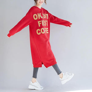 Buy red Cotton dresses Indian oversized print Dress