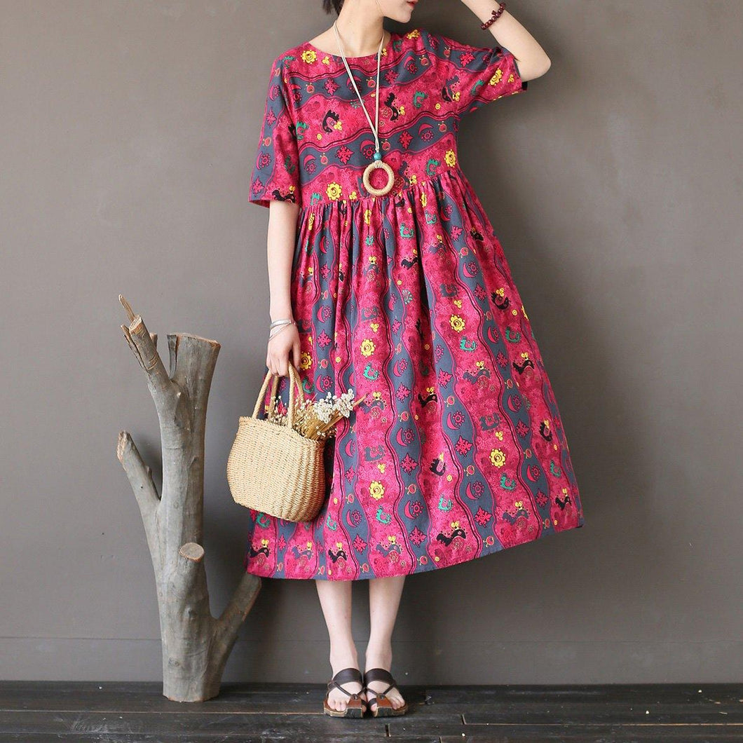 Buy rose prints linen cotton clothes Organic Online Shopping Traveling o neck Dress