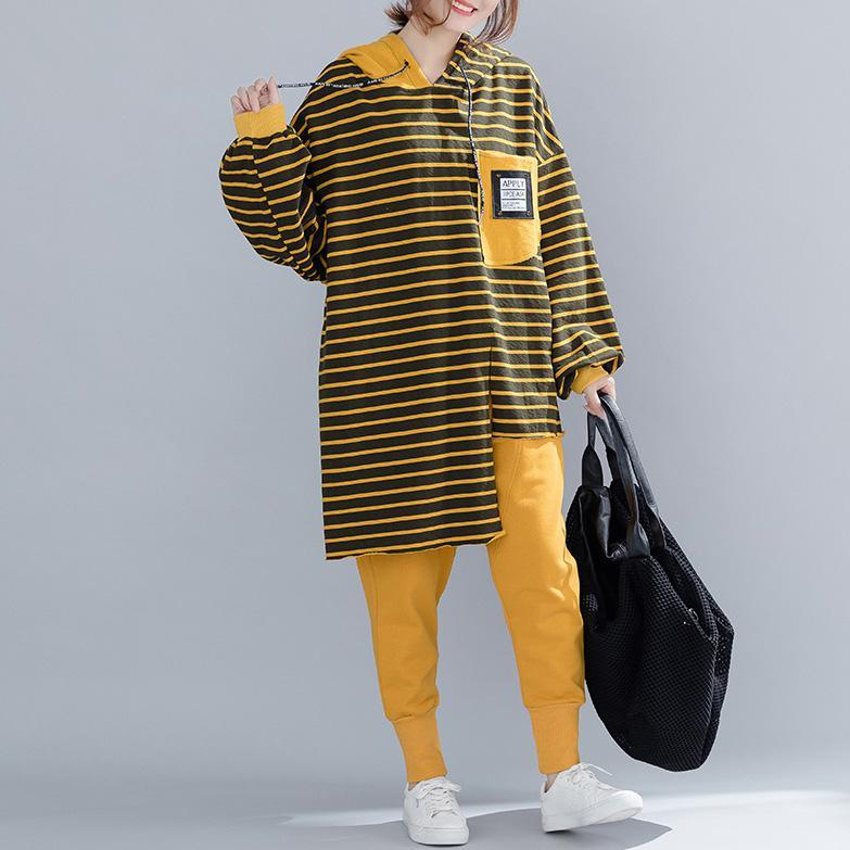 Buy yellow striped cotton tunic top Boho Neckline silhouette spring hooded blouse
