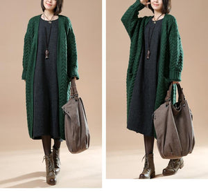 Cable knit sweaters long oversize cardigans blackish green