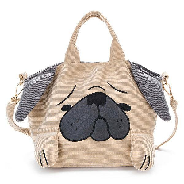 Cartoon Cute Dog Canvas Corduroy Shoulder Bag Crossbody Bags