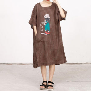 Cartoon Printed And Stripes Loose Dress