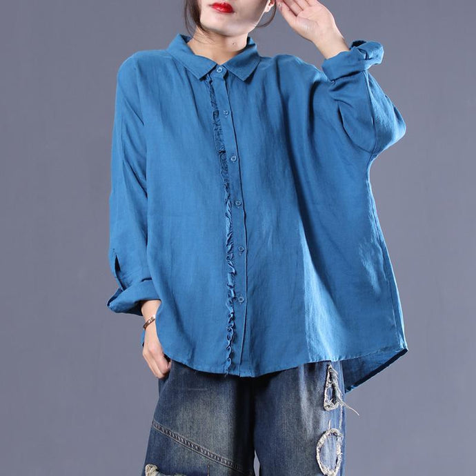 Casual Solid Loose Agaric Lace Splicing Shirt