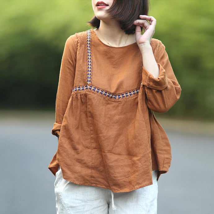 Casual Summer 2019 Loose Embroidery Linen Women T-Shirt