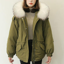 Load image into Gallery viewer, Casual army green down coat winter plussize faux fur collar snow jackets elastic waist Jackets