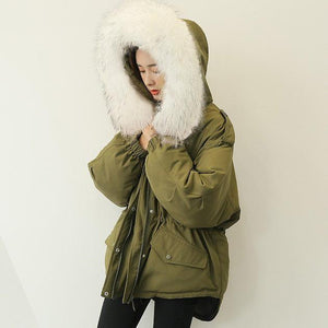 Casual army green down coat winter plussize faux fur collar snow jackets elastic waist Jackets