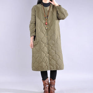 Casual army green womens coat soversized Coats o neck pockets winter outwear