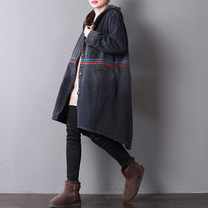 Casual black denim women oversized hooded New back side open button down outwear