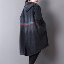 Load image into Gallery viewer, Casual black denim women oversized hooded New back side open button down outwear