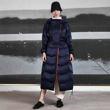 Load image into Gallery viewer, Casual black down coat winter plus size clothing side drawstring snow jackets hooded winter outwear