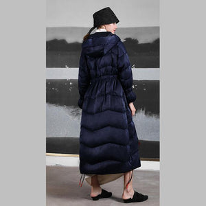 Casual black down coat winter plus size clothing side drawstring snow jackets hooded winter outwear