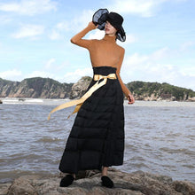 Load image into Gallery viewer, Casual black duck down maxi skirts Loose fitting high waist women skirts thick down skirts