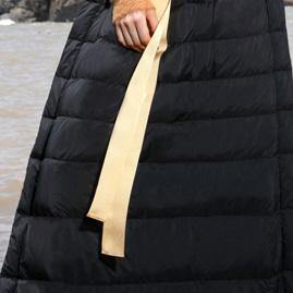 Casual black duck down maxi skirts Loose fitting high waist women skirts thick down skirts