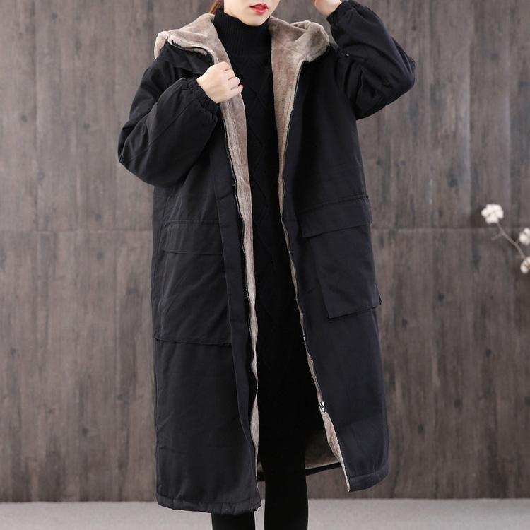 Casual black women parka casual Coats winter hooded thick outwear
