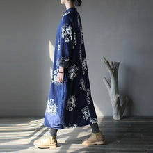 Load image into Gallery viewer, Casual blue print plus size stand collar women patchwork dresses