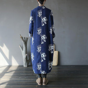 Casual blue print plus size stand collar women patchwork dresses