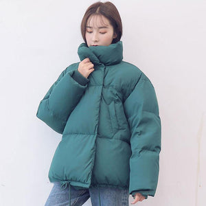 Casual blue warm winter coat plus size stand collar snow jackets long sleeve Jackets