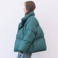 Load image into Gallery viewer, Casual blue warm winter coat plus size stand collar snow jackets long sleeve Jackets
