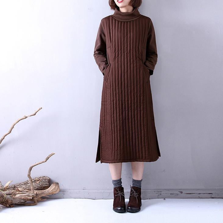 Casual chocolate winter Loose fitting high neck side oPENYZ-2018111405