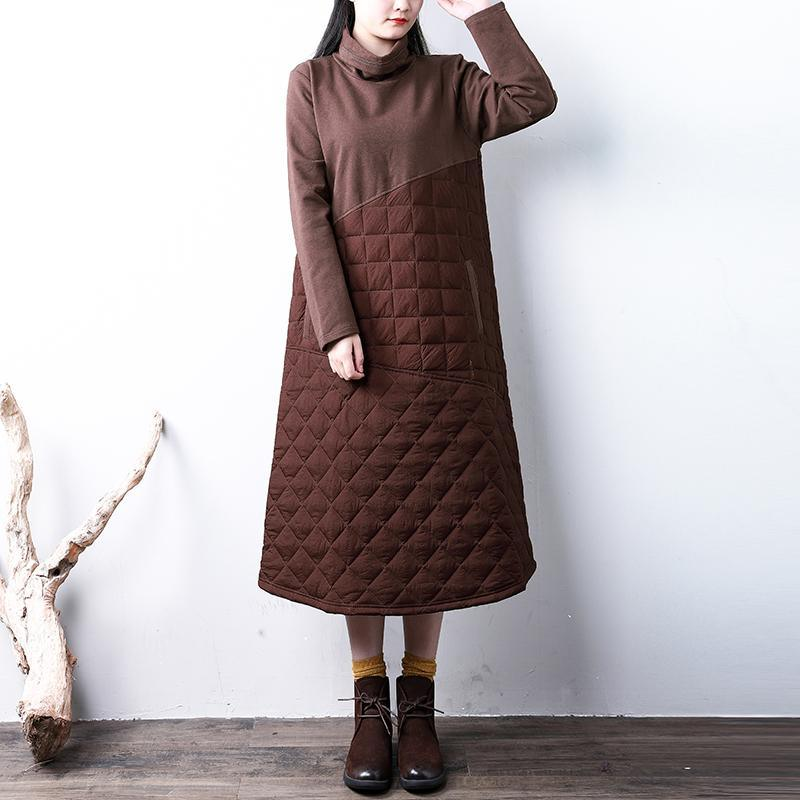 Casual chocolate women parkas casual high neck warm YZ-2018111415