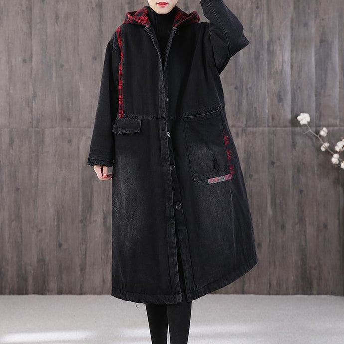Casual denim black winter parkas plus size winter patchwork plaid outwear