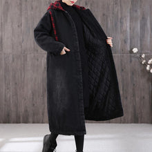 Load image into Gallery viewer, Casual denim black winter parkas plus size winter patchwork plaid outwear
