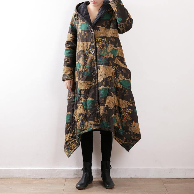 Casual floral cotton coat trendy plus size hooded pockets New asymmetric trench cotton coat