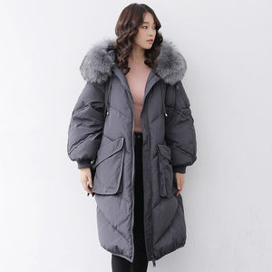Casual gray down jacket woman casual hooded fur collar down jacket zippered Jackets