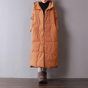 Casual orange parkas for women casual hooded warm winter coat women pockets overcoat