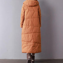 Load image into Gallery viewer, Casual orange parkas for women casual hooded warm winter coat women pockets overcoat