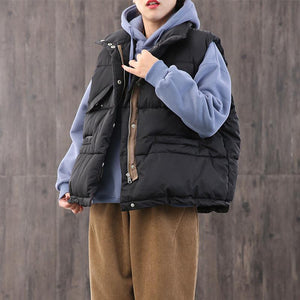 Casual oversize snow jackets coats black stand collar zippered Parkas