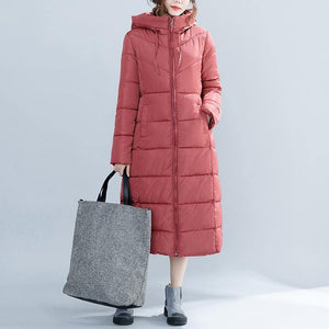 Casual red Winter Fashion plus size hooded cotton jacket women pockets zippered trench cotton coats