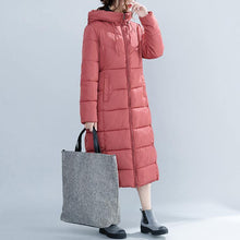 Load image into Gallery viewer, Casual red Winter Fashion plus size hooded cotton jacket women pockets zippered trench cotton coats