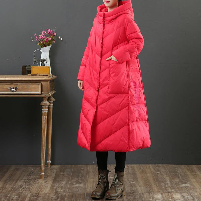 Casual red down coat winter plus size pockets womens parka hooded Luxury coats