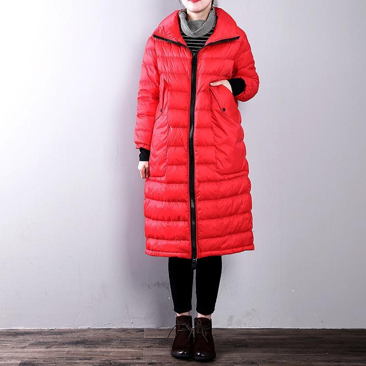 Casual red goose Down coat casual zippered stand collarYZ-2018111434